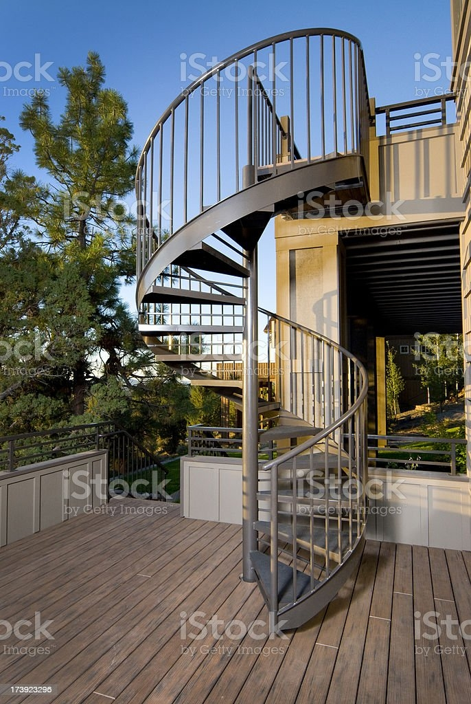 Metal Spiral Stair Case Outside Stock Photo Download Image Now   Metal Steps For Outside   Loading Dock   Covered   Round   Easy   Outdoors