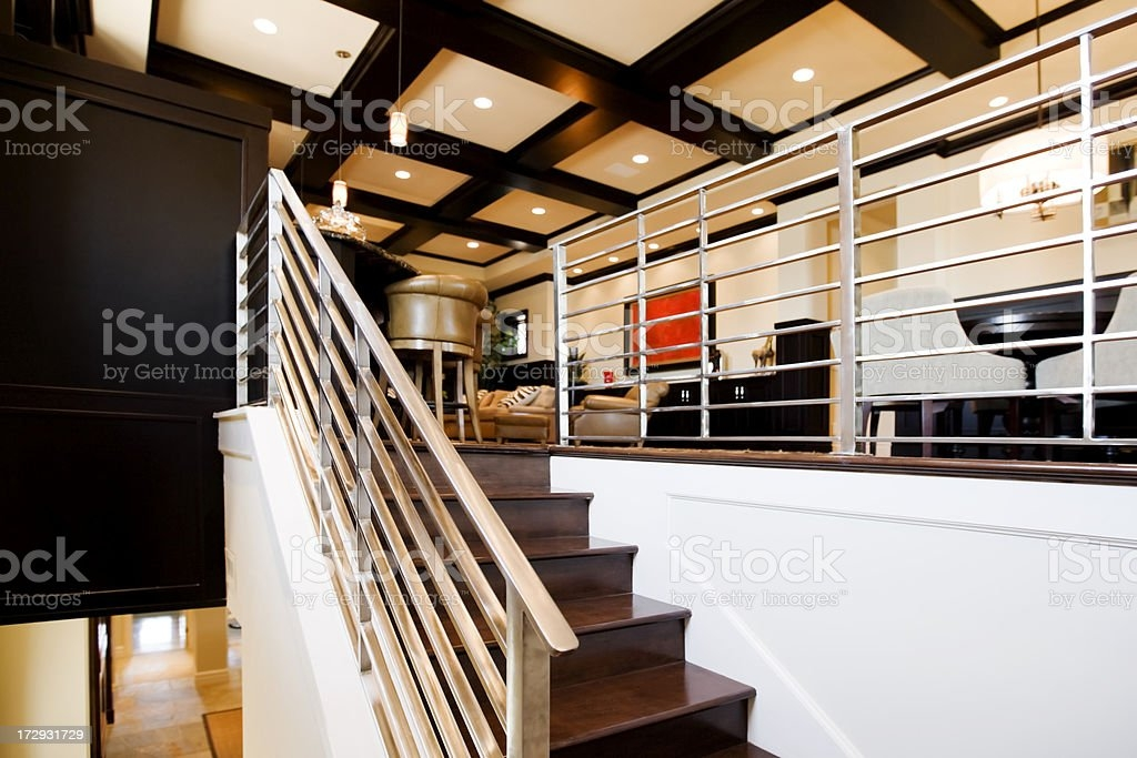 Metal Stair Railing In A Ultra Modern New Home Stock Photo   Interior Metal Stair Railing   Rustic   Cool   Exterior Irregular Stair   Stair Bannister   Dark Wood