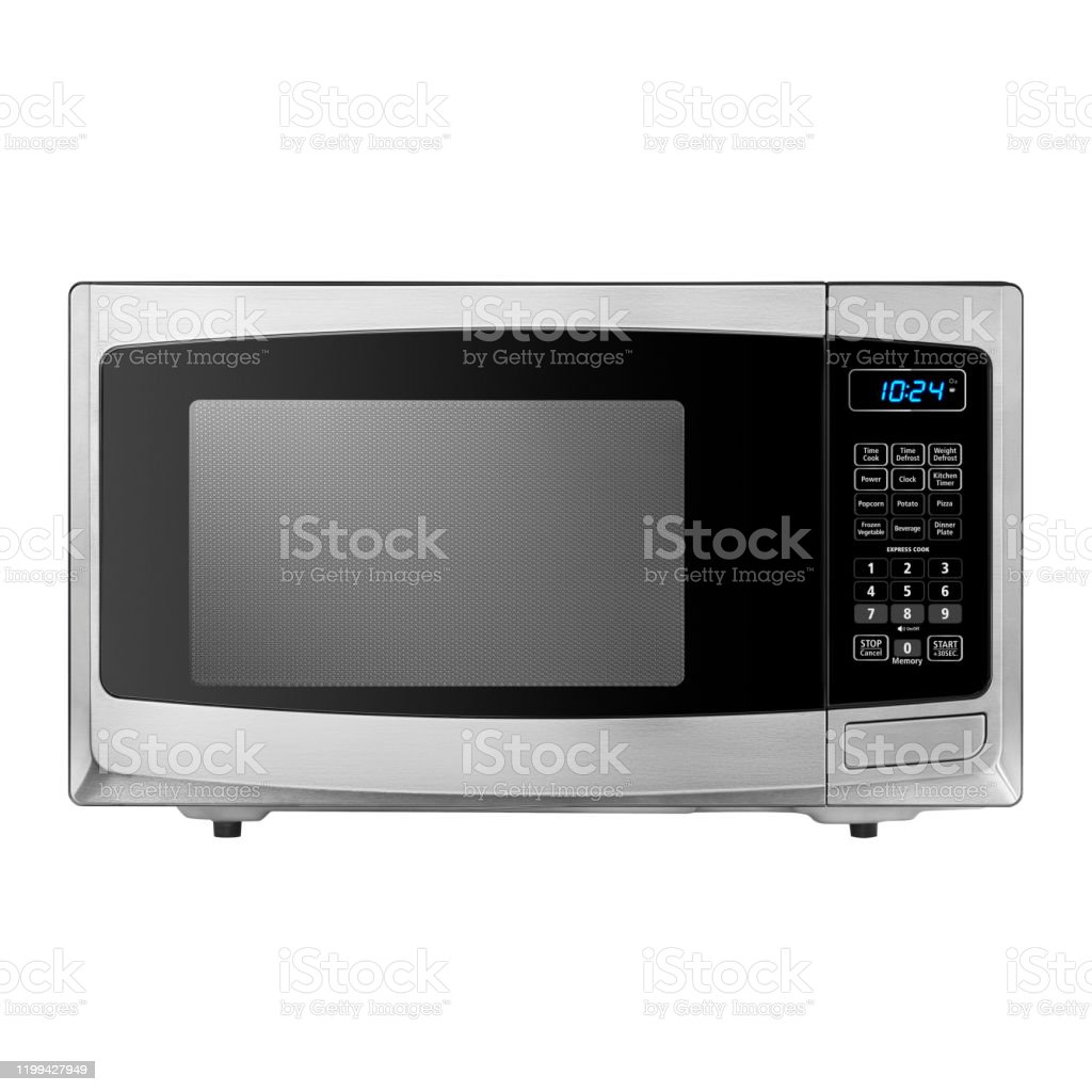 https www istockphoto com photo microwave oven isolated on white background front view of stainless steel countertop gm1199427949 343159210