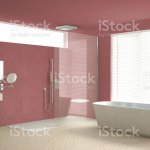 Minimalist Bathroom With Bathtub And Shower Parquet Floor And Marble Tiles Classic White And Red Interior Design Stock Photo Download Image Now Istock
