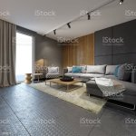 Minimalist Contemporary Living Room With Sofas In Loft Style