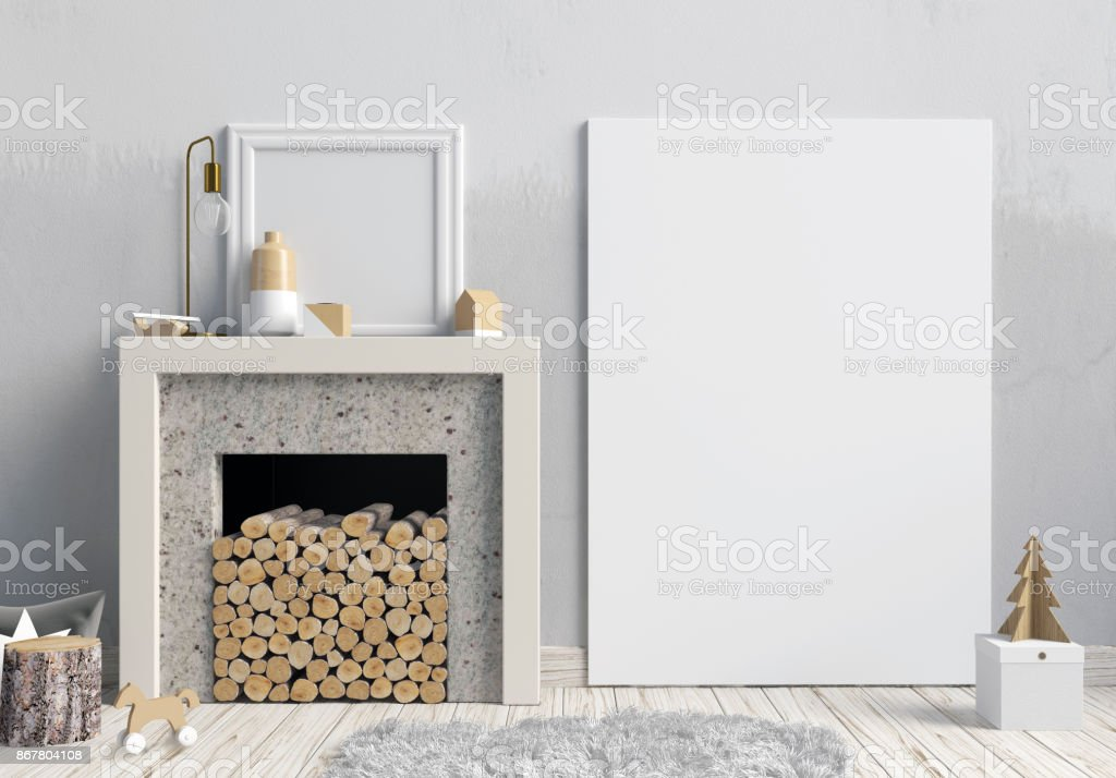 Modern Christmas Interior With A Decorative Fireplace