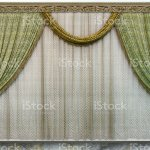 Modern Design Living Room Green Curtains Made Of Natural Fabric Translucent Tulle And Carved Wooden Cornice Stock Photo Download Image Now Istock