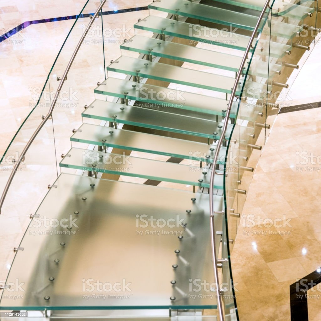 Modern Glass Staircase In Luxury Hotel Stock Photo Download   Modern Glass Staircase Design   Half Wall Glass   Marble Floor Glass   Modern Style   Stainless Steel   Stair Case