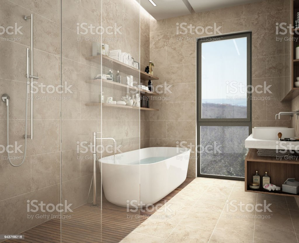 Modern Limestone Bathroom Bathtub And Shower Shelves With Bottles Big Panoramic Window Stock Photo Download Image Now Istock