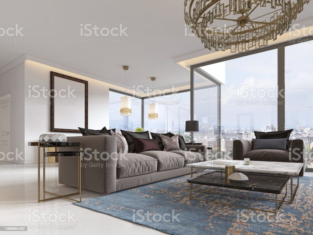Modern Luxury Living Room Interior With A Sofa Armchairs A Coffee Table And A Dining Table With A Kitchen Stock Photo Download Image Now Istock