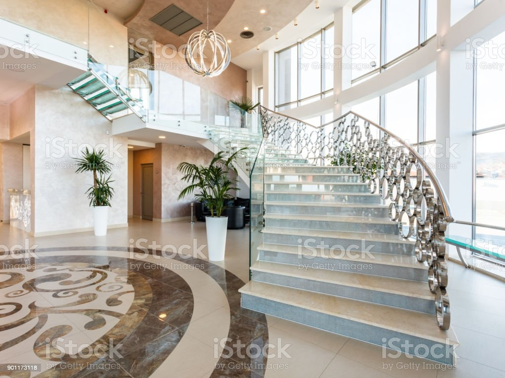 Modern Staircase At The Lobby Stock Photo Download Image Now   Stairs Design In Lobby   Entrance Lobby   Foyer   Architectural   Circle Elevator Design Home   White