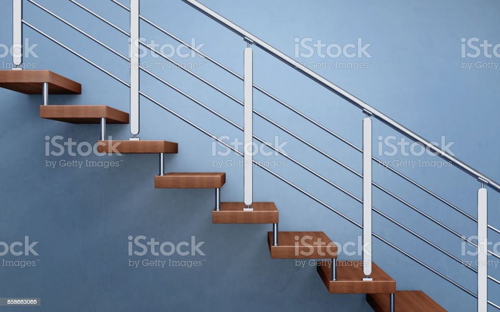 Modern Wooden Staircase With Chromed Railing 3D Rendering Stock   Modern Wood Stair Railing   Wrought Iron   Staircase Railing   Modern Style   Deck   Horizontal Bar