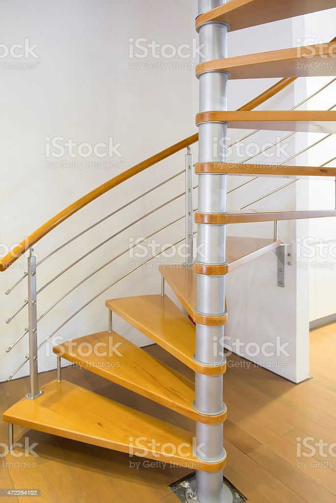 Morden Spiral Stairs With Wooden Steps Inside A House Stock Photo | Spiral Staircase Wooden Steps | Tiny House | Wrought Iron | Rustic | Creative | 2 Story