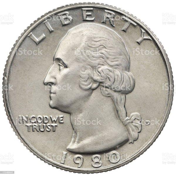 Obverse Of The George Washington 1980 Quarter Dollar Stock ...