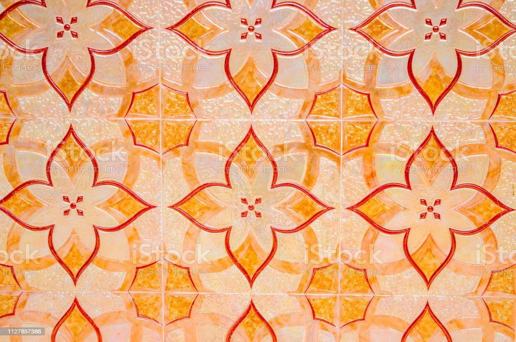 old ceramic tile background bright orange tile paving in arabic style oriental floor decor stock photo download image now istock
