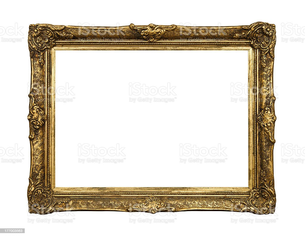 Old Golden Retro Mirror Frame Isolated On White Stock