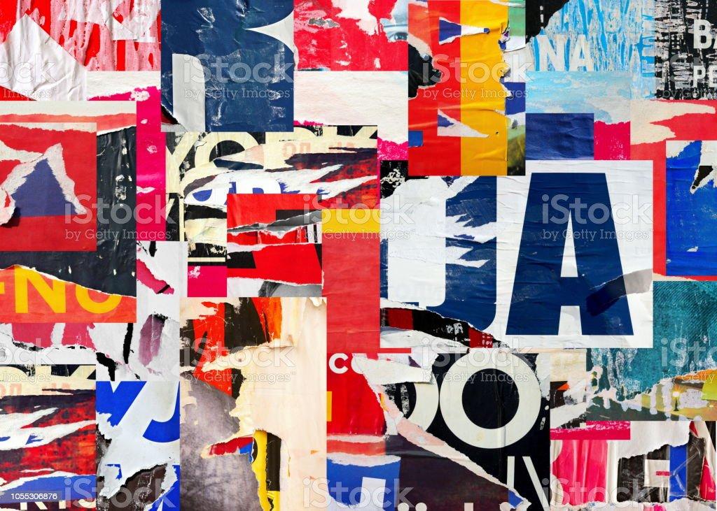 alten zerrissenes zerrissenes papier zerknittert zerknittert strasse collage poster plakat grunge texturen hintergrund hintergrund stockfoto und mehr bilder von abstrakt istock