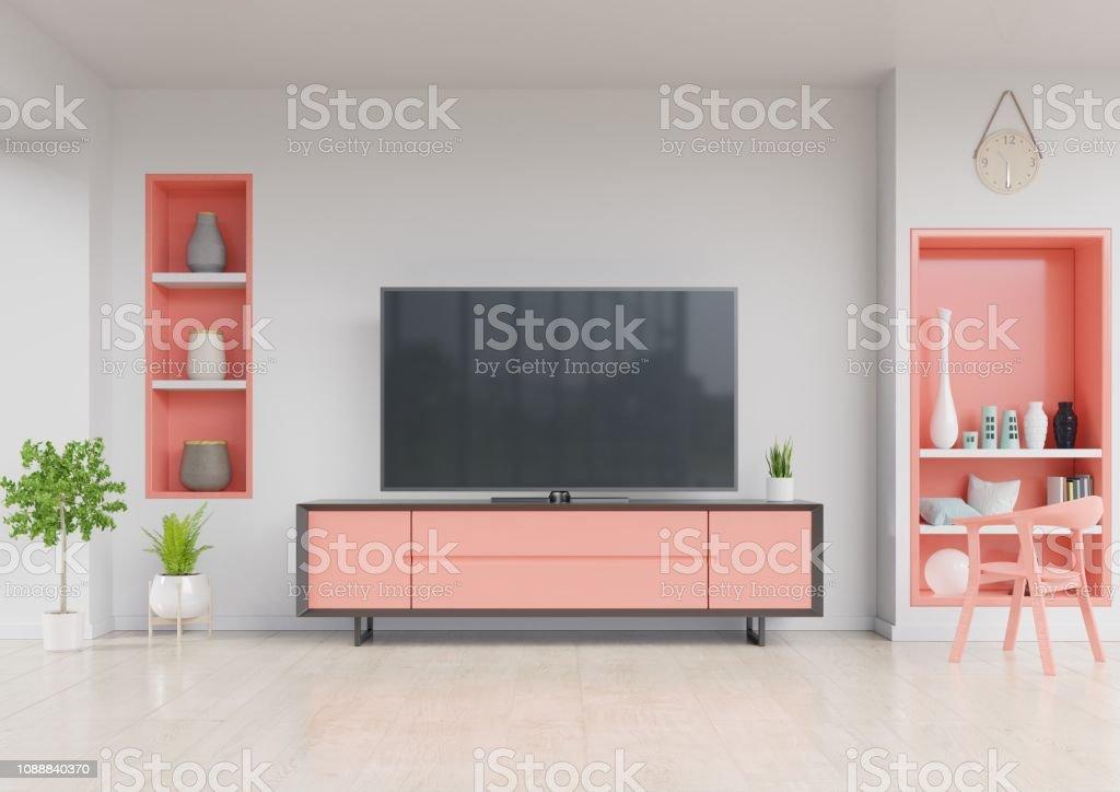 https www istockphoto com fr photo tv sur meuble moderne salon avec fauteuil c3 a9tag c3 a8re murale et v c3 a9g c3 a9tale gm1088840370 292073872