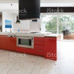 Orange Red Kitchen Cabinets In Island Bench In Modern Luxury Australian Home Stock Photo Download Image Now Istock