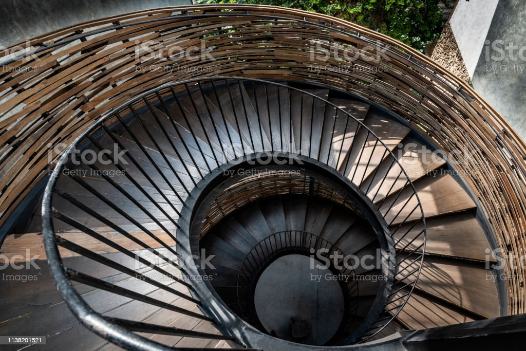 Outdoor Wooden Spiral Staircase Steel Handrail And Weave Bamboo   Outdoor Wooden Spiral Staircase   Kid Friendly   Residential   Circular   Beautiful   Rooftop Deck