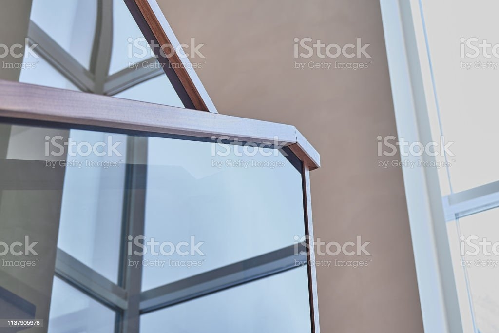 Part Of Wooden Steps With Glass Railings Walnut Staircase Stock   Wooden Staircase With Glass   Oak   Glass Design Golden   Tempered Glass   Unusual Interior   Detail