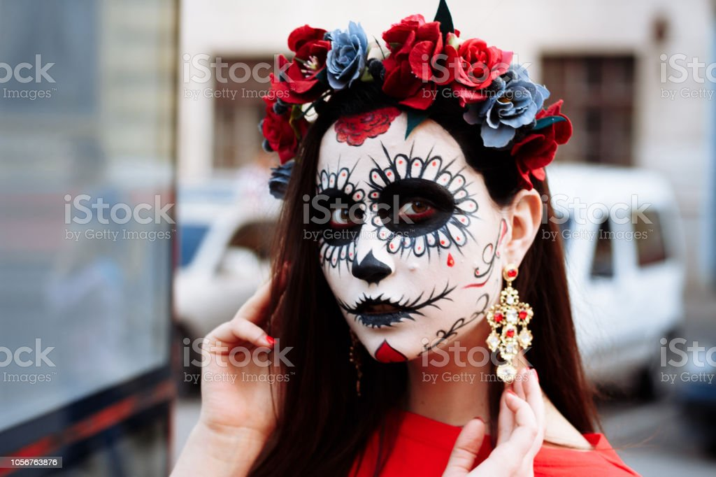 Halloween is celebrated in the united states on october 31st. Portrait Of A Girl In The City With A Makeup Makeup For Halloween Day Of The Dead Zombies Dead Among Us Ghost Walk Of Skeletons Stock Photo Download Image Now Istock