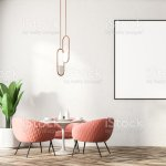 Poster And Pink Chairs Cafe Interior Stock Photo Download Image Now Istock