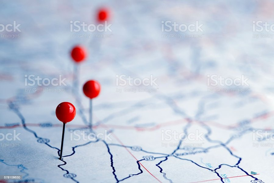 Royalty Free Road Map Pictures  Images and Stock Photos   iStock Push Pins On A Road Map stock photo