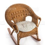 Rustic Wicker Rocking Child Chair With Cushion Stock Photo Download Image Now Istock