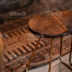 Rustic Wood And Bronze Metal Bar Stool Stock Photo Download Image Now Istock