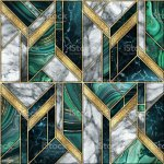 Seamless Abstract Background Modern Marble Malachite Gold Mosaic Art Deco Wallpaper Artificial Stone Texture White Green Marbled Tile Geometrical Fashion Marbling Illustration Stock Photo Download Image Now Istock