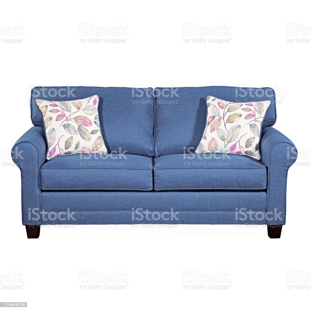 sofa bed isolated on white front view upholstered contemporary deep loveseat with blue upholstery and seat cushion couch with armrests and spread throw pillows interior furniture with wooden legs stock photo