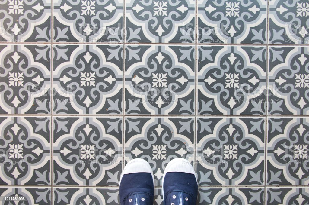 spanish tile texture background with blue shoes stock photo download image now istock
