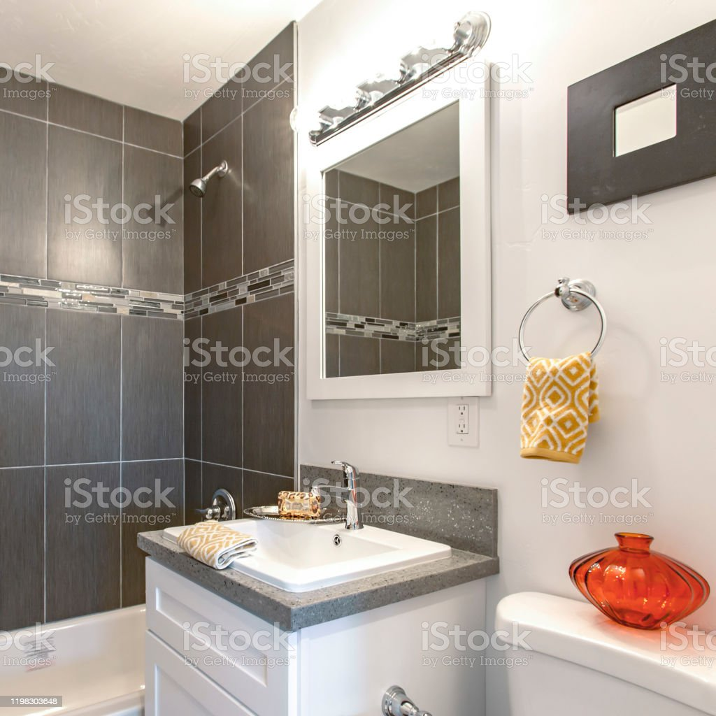 square frame dark tile in the shower stock photo download image now istock