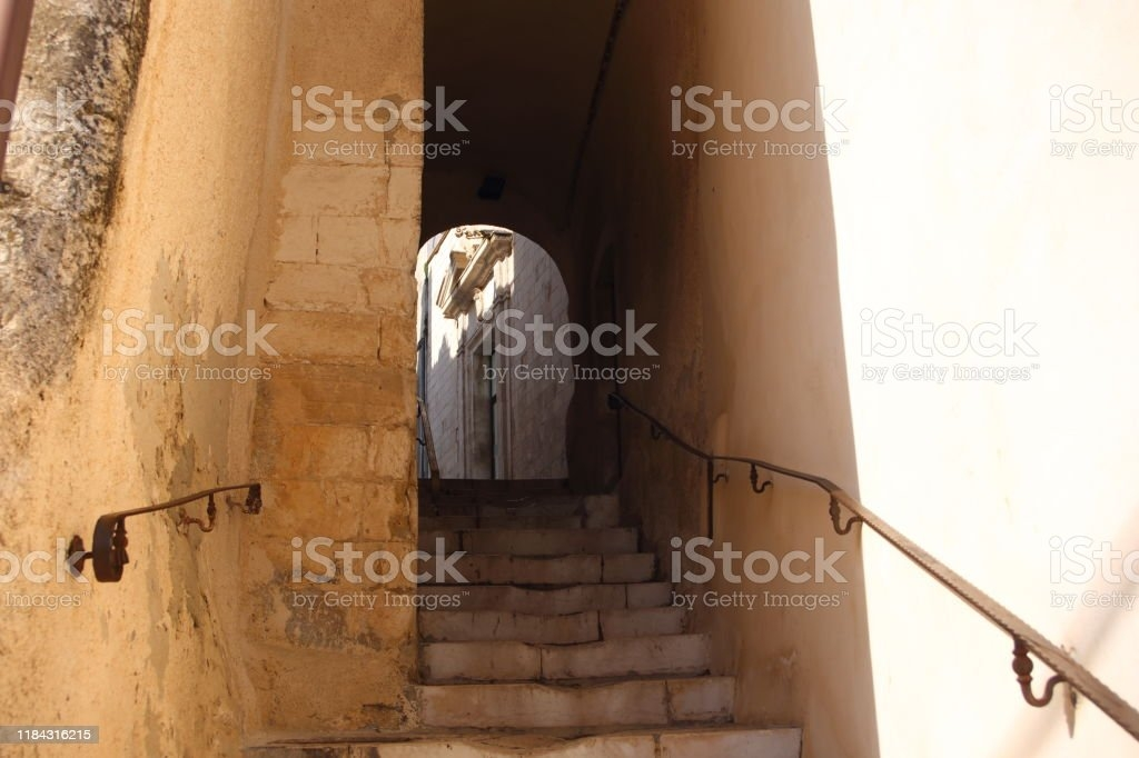 Stairs And Handrails At A Narrow Arcade Stock Photo Download | Handrail For Narrow Staircase | Exterior | Self Standing Narrow | Free Standing | Victorian | Small Staircase