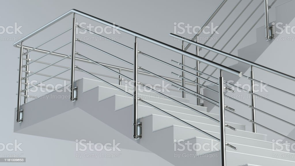 Stairs And Stainless Steel Railing Stock Photo Download Image   Ss Handrails For Stairs   Building   Glass   Horizontal   Flat Steel   Mild Steel Handrail