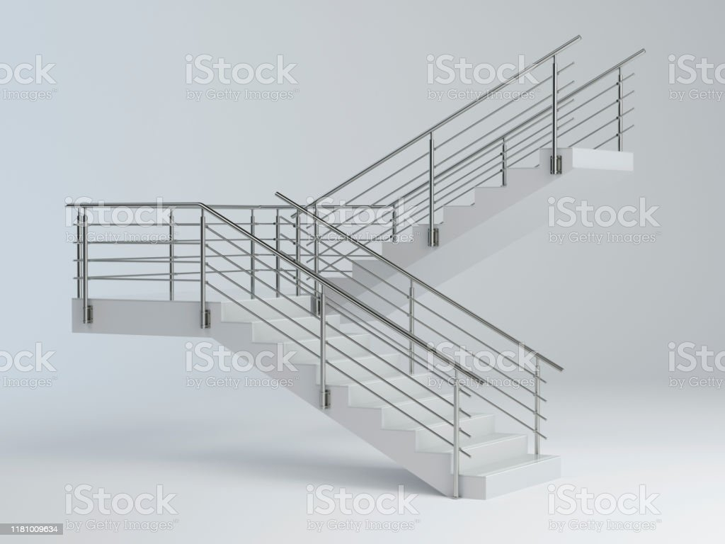 Stairs And Stainless Steel Railing V2 Stock Photo Download Image | Exterior Stainless Steel Handrail | Flat Bar | Balustrade | Steel Railing | Mild Steel | Staircase