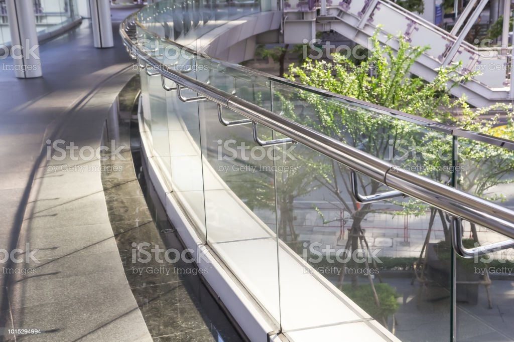 Tempered Glass Of Walk Way Balcony With Stainless Steel Handrail | Stainless Steel Handrail With Glass | Balustrade | Steel Railing | Price | Aged Polished Steel | Wood