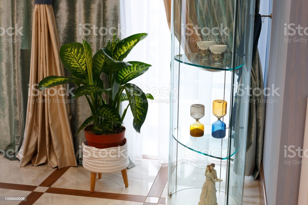 The Interior Of The Living Room Beautiful Curtains And Drapes On The Window Stock Photo Download Image Now Istock