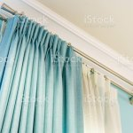 The White Curtains With Ringtop Rail Curtain Interior Decoration In Living Room Stock Photo Download Image Now Istock