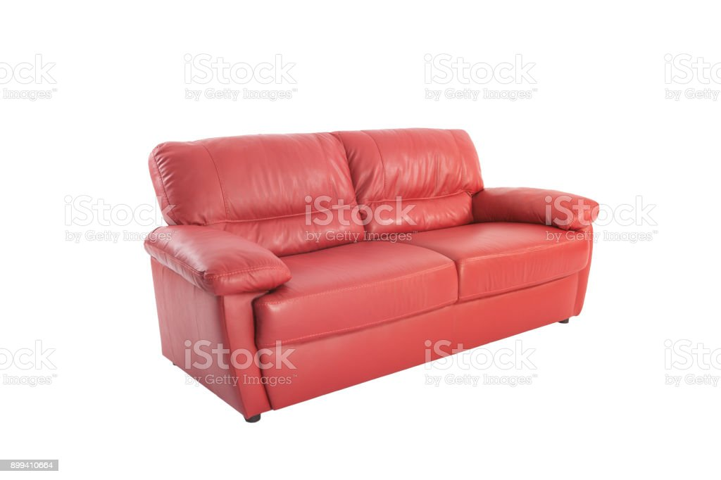 Three Seats Cozy Red Leather Sofa Isolated On White Background Stock Photo Download Image Now Istock