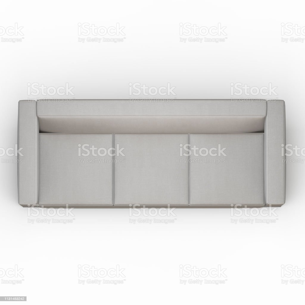 threeseater soft white sofa on a white background top view 3d rendering stock photo download image now istock