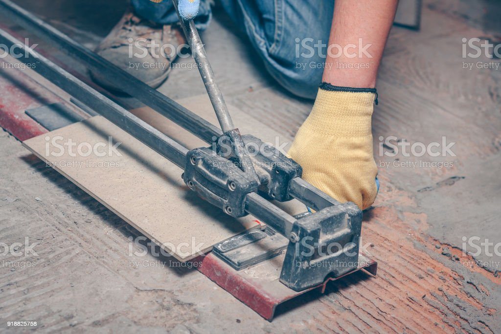 https www istockphoto com photo tiler with a hand held tile cutter cuts the tile on the floor gm918825758 252721946