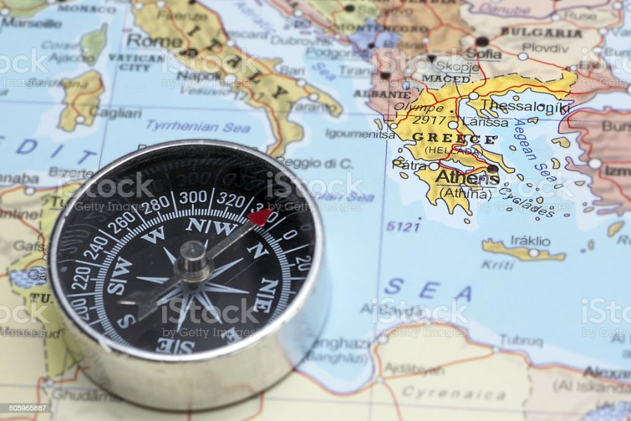 Travel Destination Greece Map With Compass Stock Photo   More     Travel destination Greece  map with compass royalty free stock photo