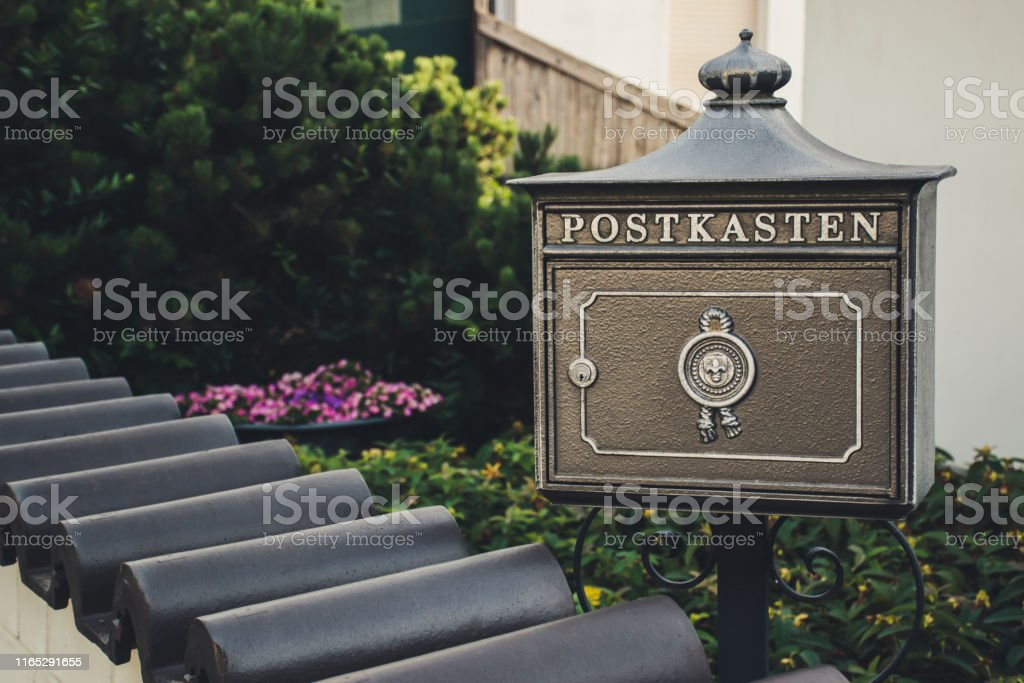 Vintage Bronze German Mailbox Outside The Private House Translation Mailbox Stock Photo Download Image Now Istock