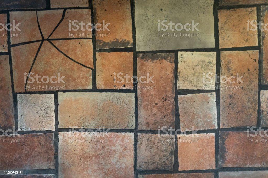 https www istockphoto com photo vintage tile flooring brown red aged creative vintage background gm1128079317 297565331