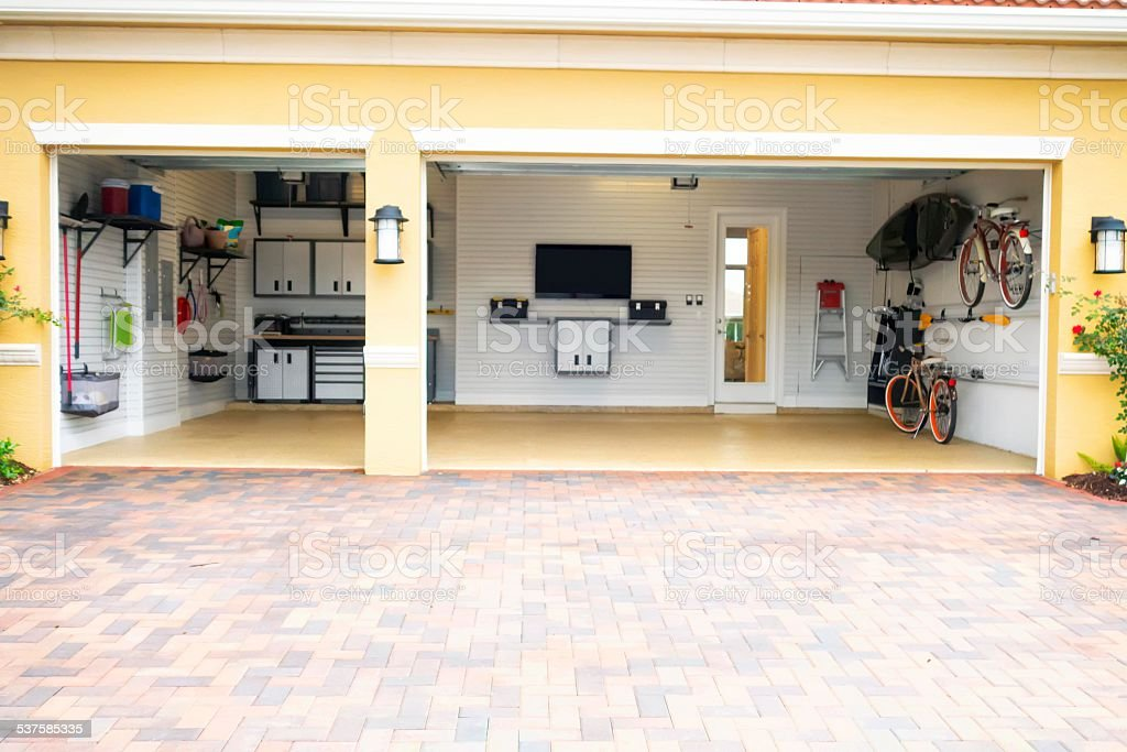 Well Organized Clean Three Car Residential Garage Stock ... on Organized Garage  id=90912