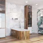White And Green Marble Bathroom Interior Side Stock Photo Download Image Now Istock