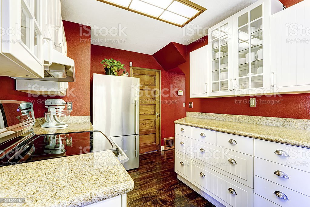 White Kitchen Room With Contrast Bright Red Walls Stock Photo Download Image Now Istock