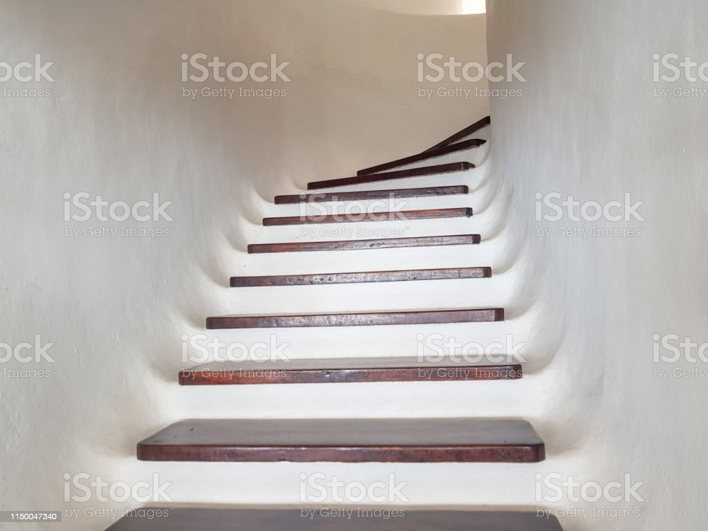 White Staircase Design With Wooden Steps Upward View Stock Photo   White Stairs With Wood Steps   Light Wood   White Riser   Outdoor   Dark   Traditional
