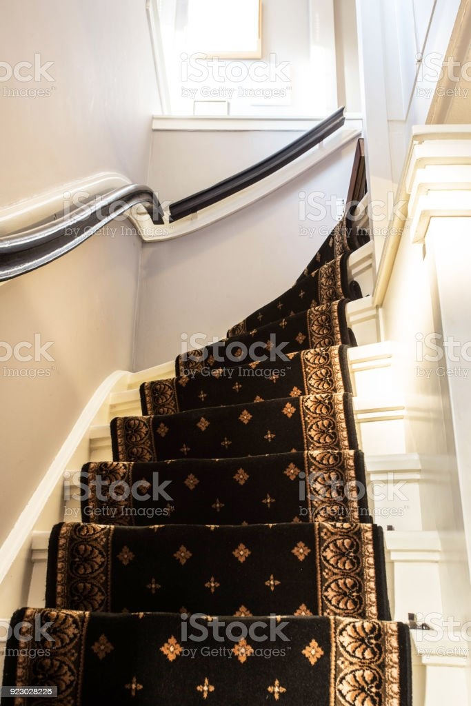 White Stairs With Vintage Carpet Stock Photo Download Image Now   White Stairs With Carpet   Chocolate Brown   Oak   Solid Colour   Colour   Landing