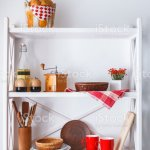 White Wooden Shelf Kitchen Rustic Furniture Stock Photo Download Image Now Istock