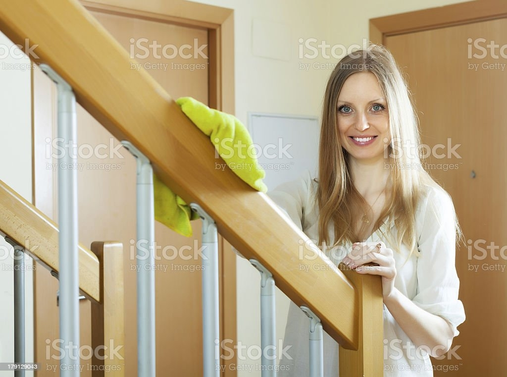 Woman Cleaning Wooden Stair Railings At Home Stock Photo   Home Stairs And Railings   Craftsman   Low Cost   Easy Diy   Inexpensive   Beautiful