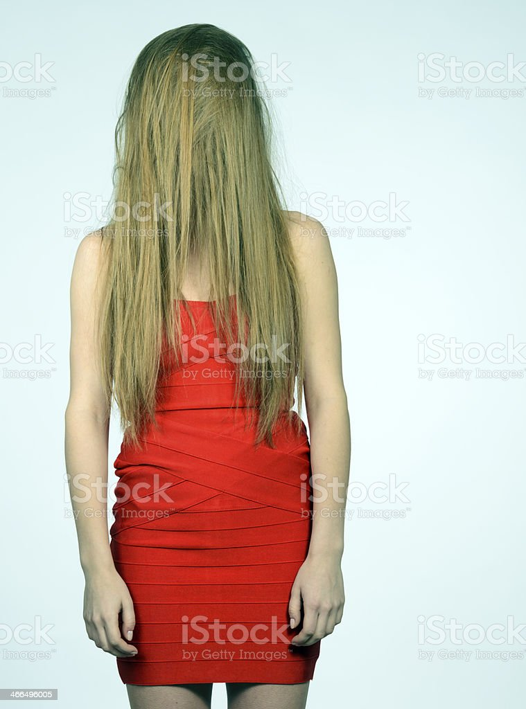 Woman With Long Hair Covering Face Stock Photo Amp More